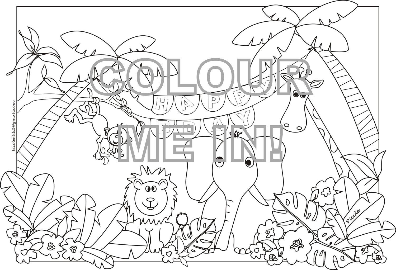 Colouring in jungle Coloring book jungle animals