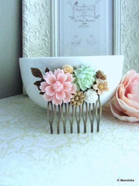 A Blush Baby Pink Flower, Soft Green Rose, Brass Leaf Collage Hair Comb. Bride, Maid Of Honor, Bridesmaids Gift, Wedding Bridal Hair Comb. - Marolsha