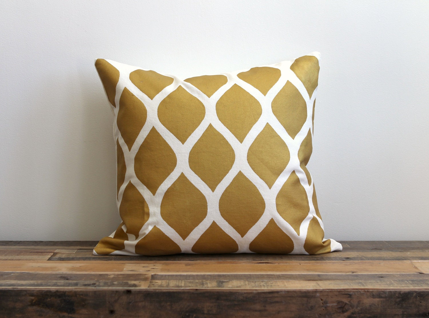 Aya pillow cover hand printed in metallic gold on white organic cotton- hemp 20x20 - melongings