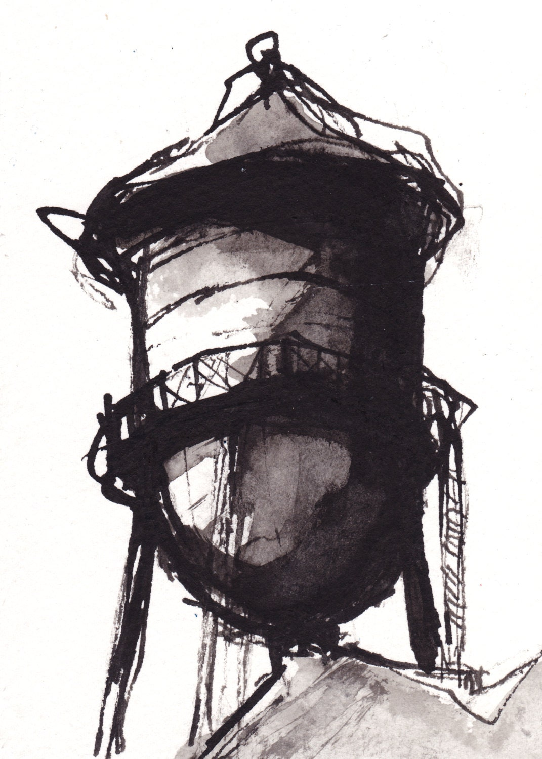 Pen and Ink Sketch Drawing NYC Water Tower Black by vhmckenzie