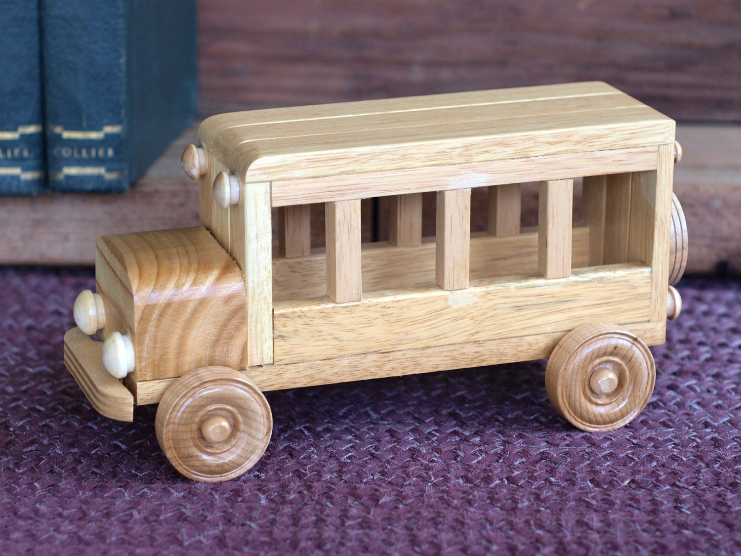 Wooden Toys For Boys : Reclaimed wooden toy bus for children kids boys by