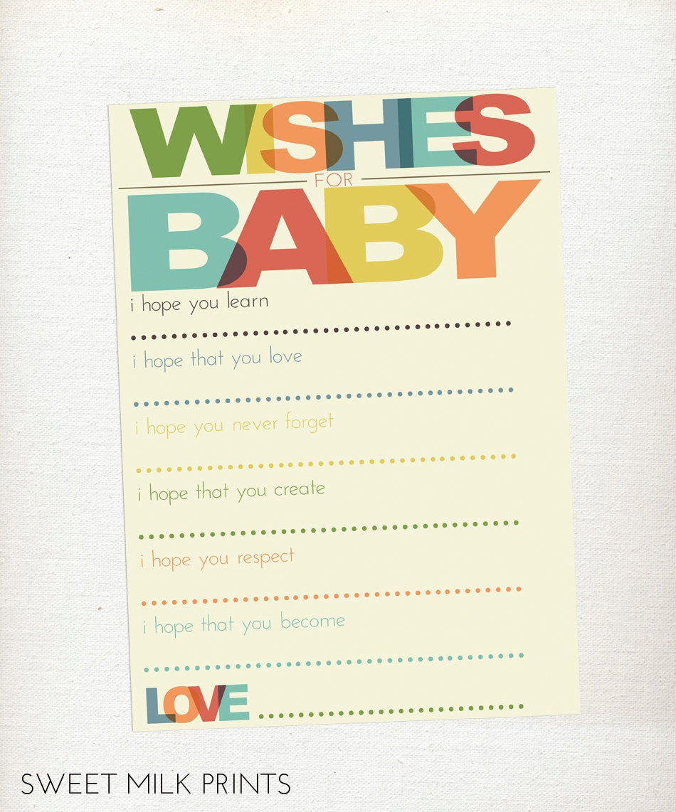 gender neutral well wishes for baby printable baby shower activity