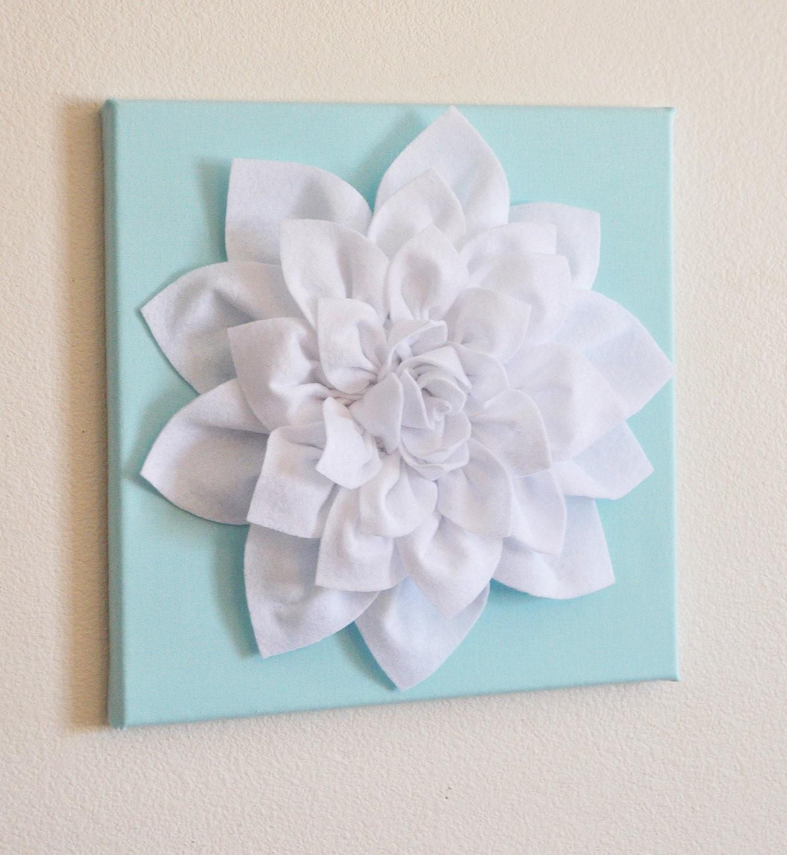 Wall Decor Etsy : Wall flower white dahlia on aqua canvas by