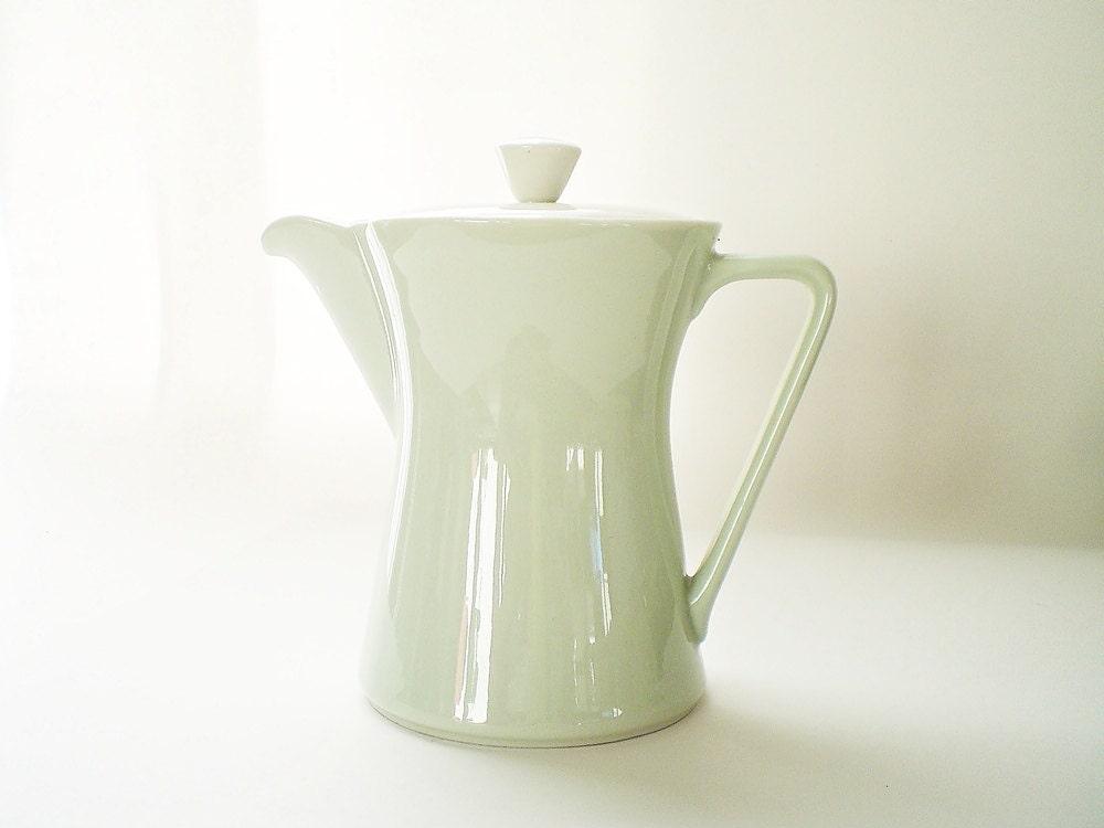 Mint Green China Teapot, Vintage Collectible Lilien Porzellan, Daisy Pattern