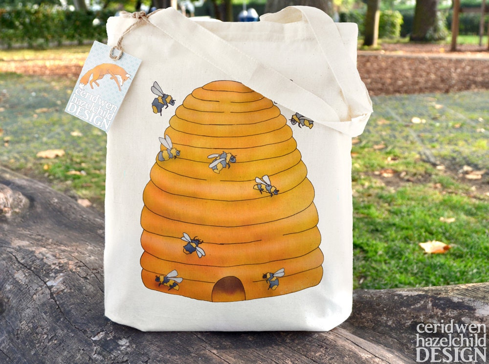 Bee Hive Tote Bag Ethically Produced Reusable Shopper Bag Cotton Tote Shopping Bag Eco Tote Bag