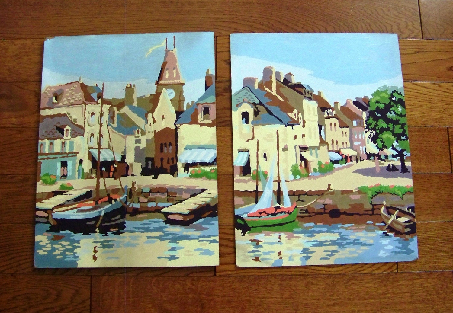 Pair of vintage Paint by Numbers Boat Provincial Quaint Town Venice Canals