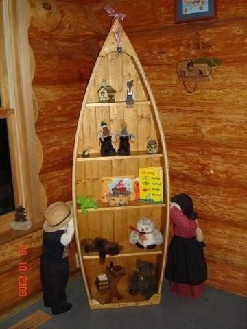 Foot Handcrafted Wood Knotty Pine Row Boat shelf Bookcase bookshelf ...