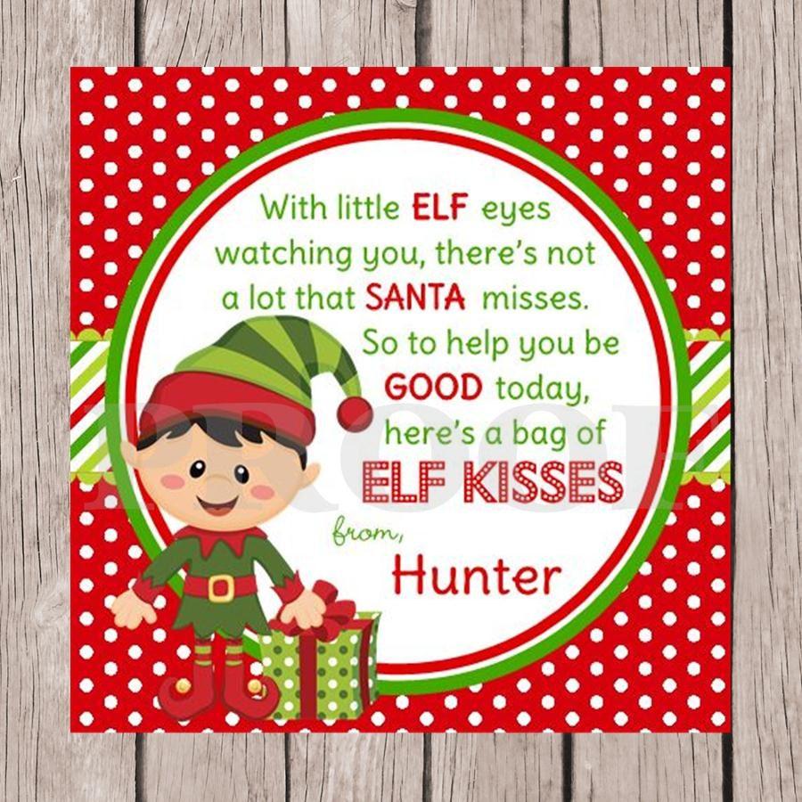 to PRINTABLE Elf Kisses Holiday Favor Tags - Choose Boy or Girl Elf ...