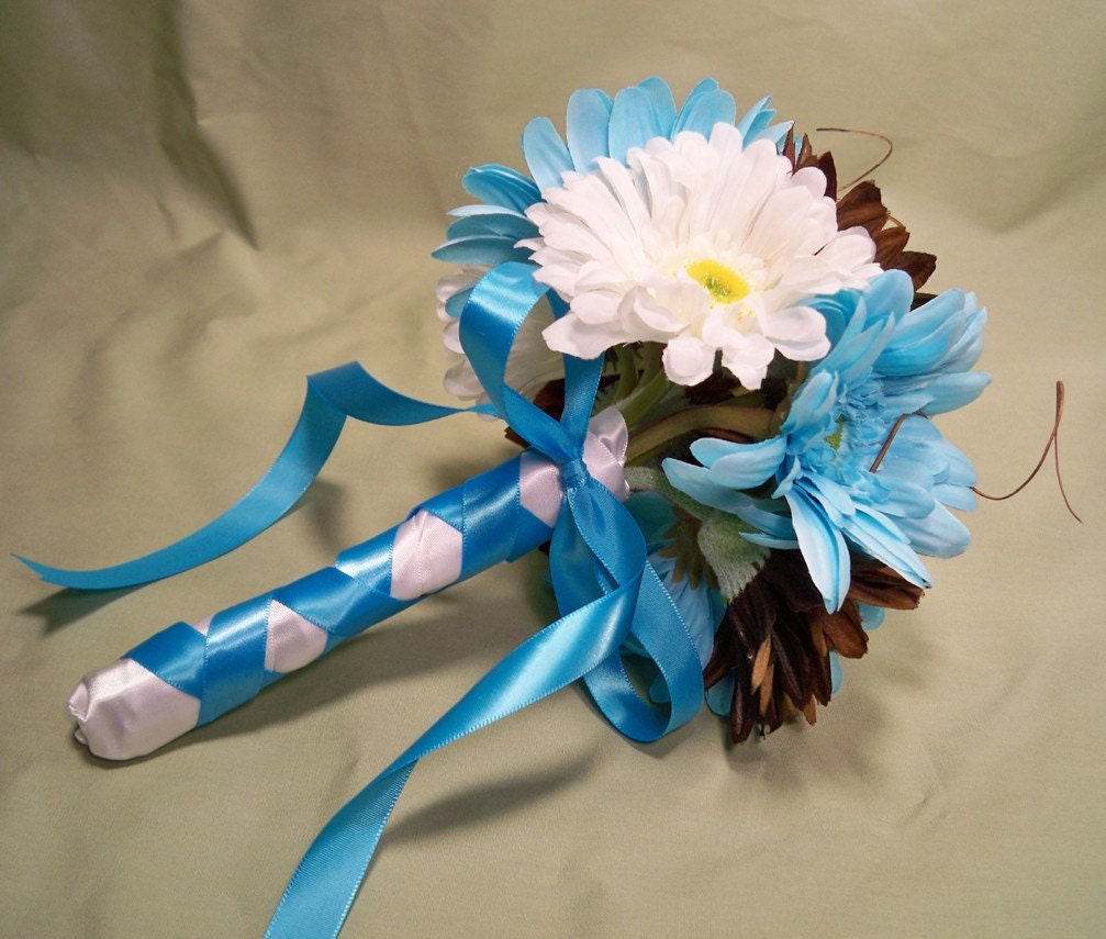 Blue Brown Wedding Bouquets : Turquoise white brown gerbera daisy wedding toss by