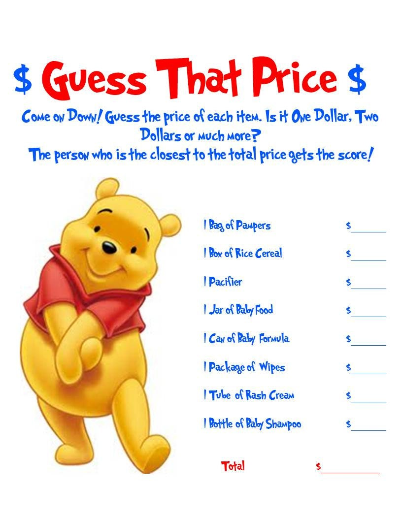 Winnie The Pooh Guess That Price Baby Shower By Allthingsparty