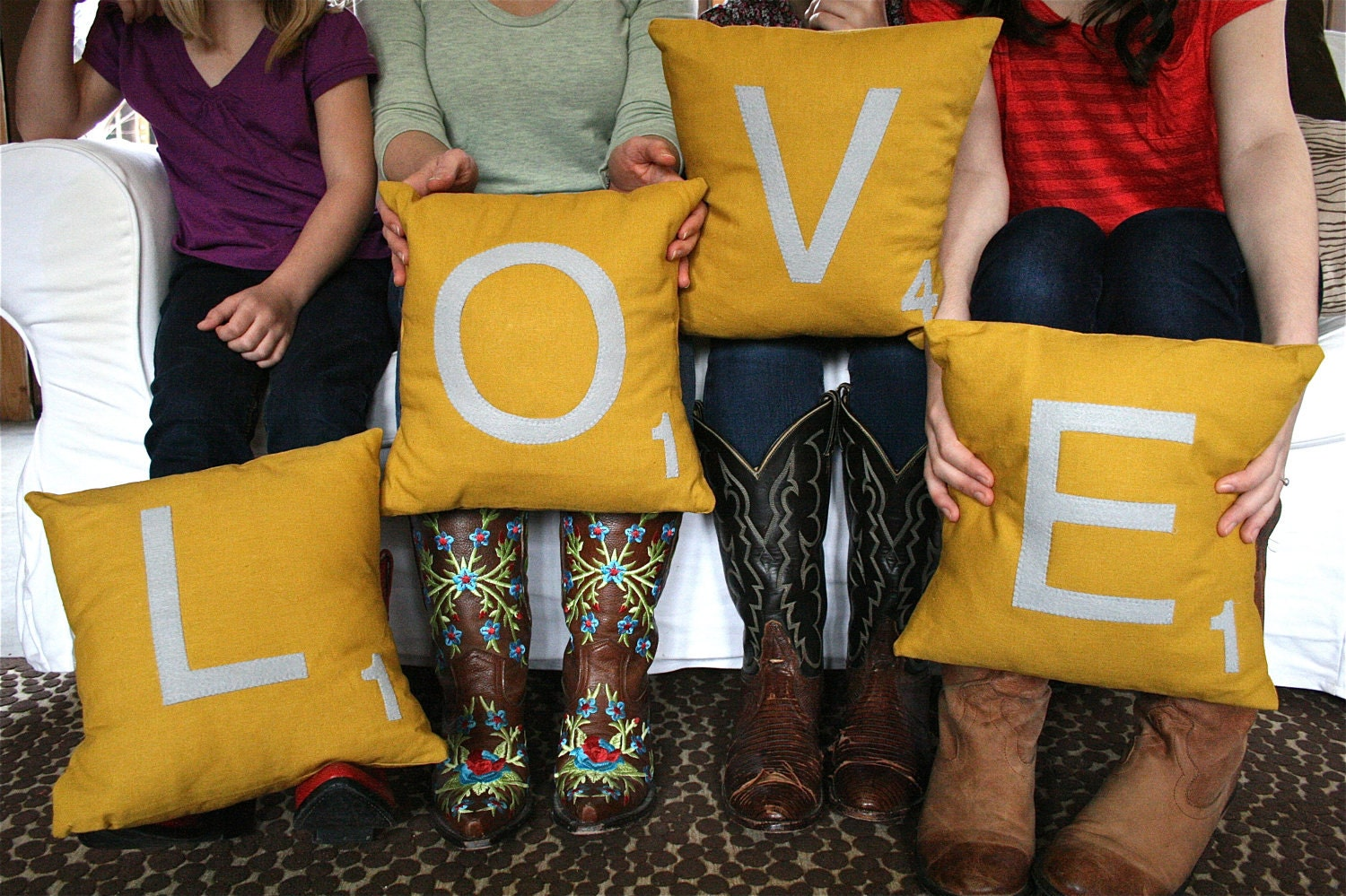 LOVE Scrabble Pillows