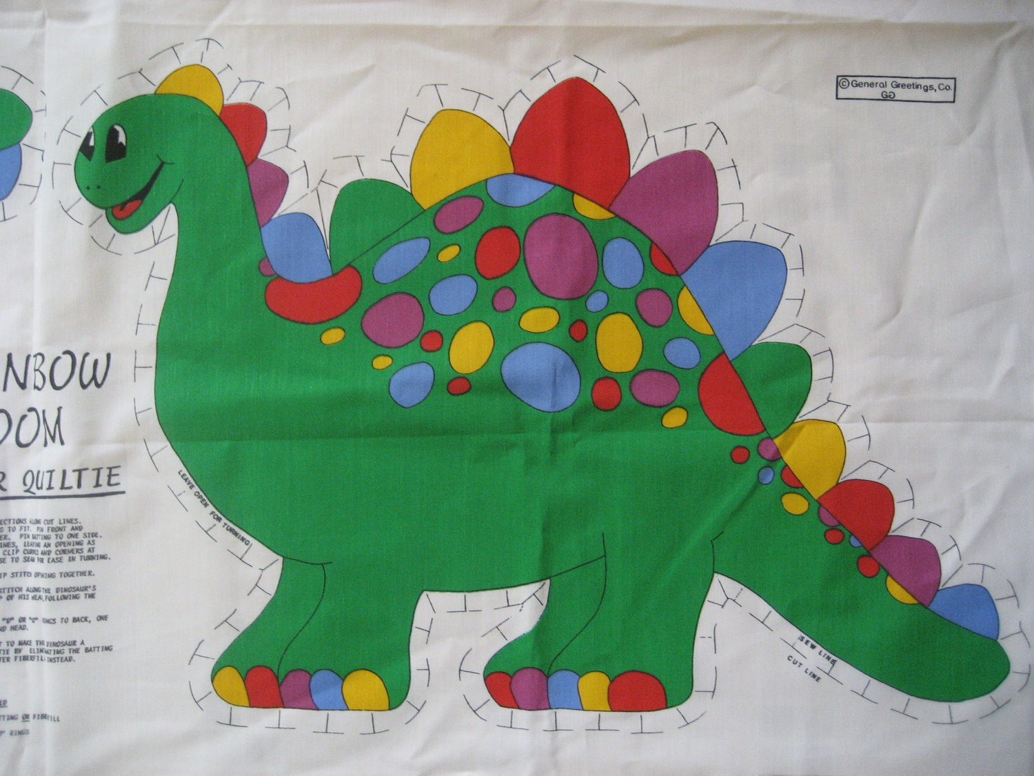 Dinosaur Fabric Panel Vintage 1980s Wall Hanging By