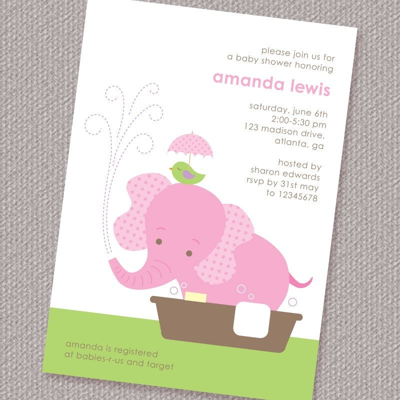 baby elephant girl baby shower invitation printable by paperspice