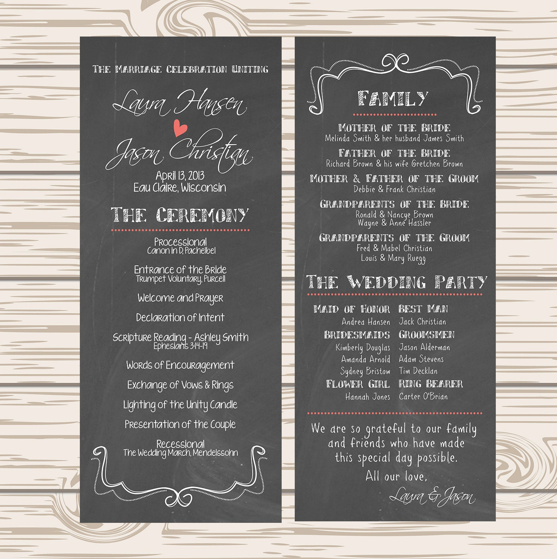 DIY Printable Wedding Program Chalkboard By Themunch On Etsy