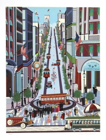 "Nicky Watanabe ""Powell Street Cable Car"" limited edition hand pulled serigraph - printsdotcom"