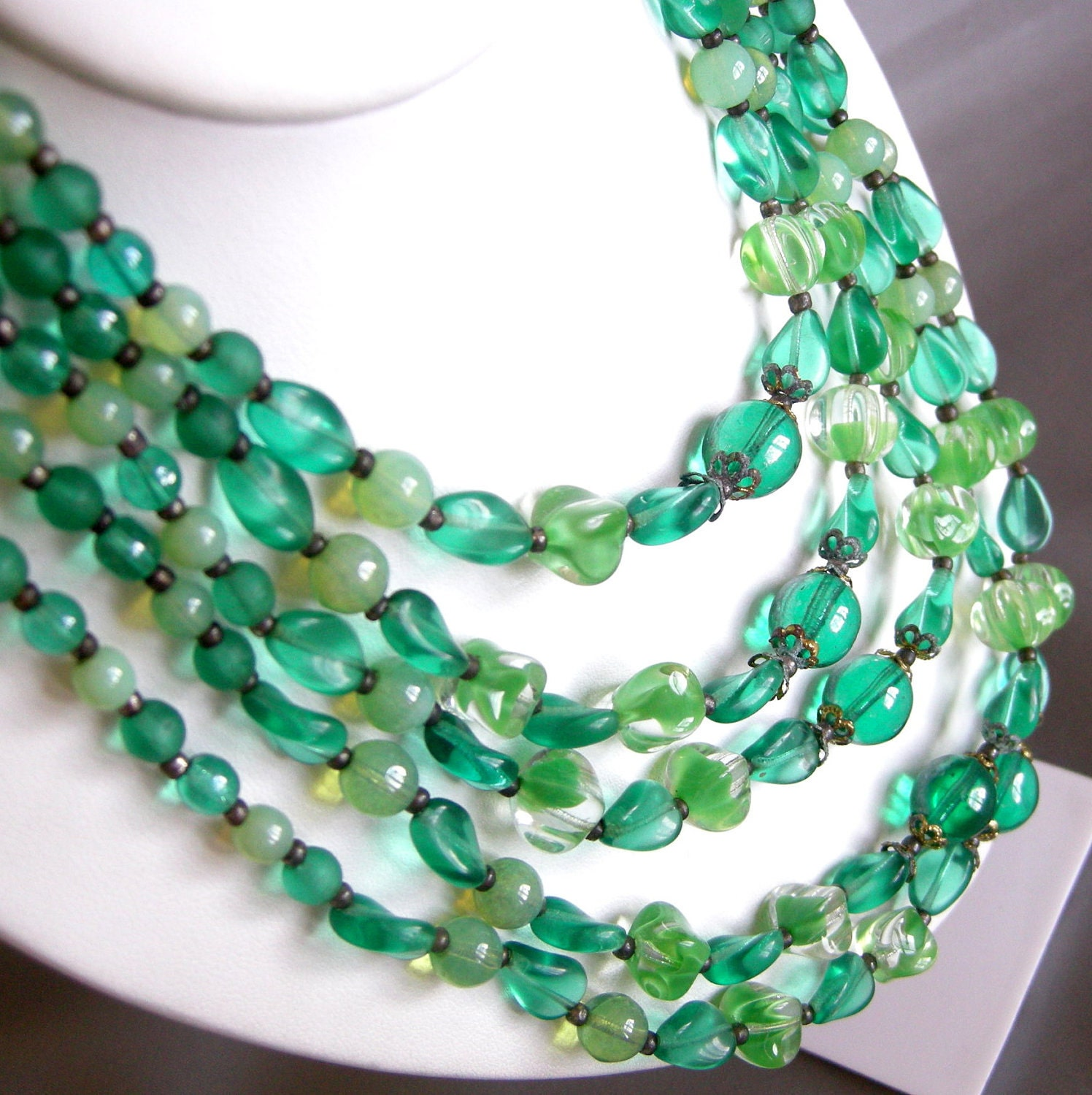 Vintage multi strand necklace with teal and lime green glass beads, antiqued brass - tonightinparis