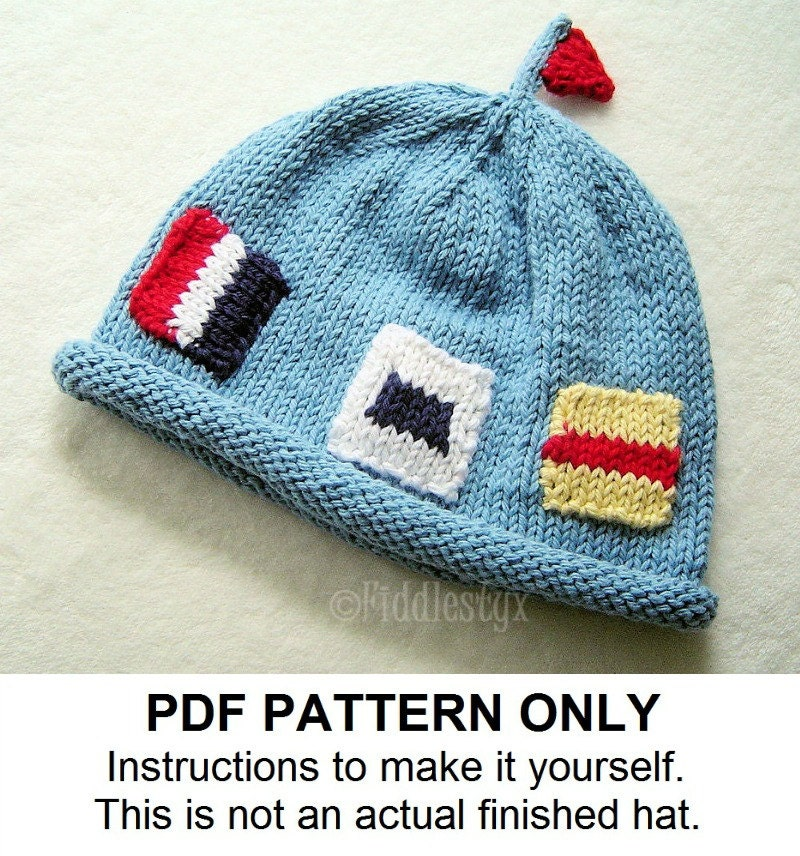 Knit Hat Knitting Pattern Nautical Flag Hat by FiddlestyxStudios