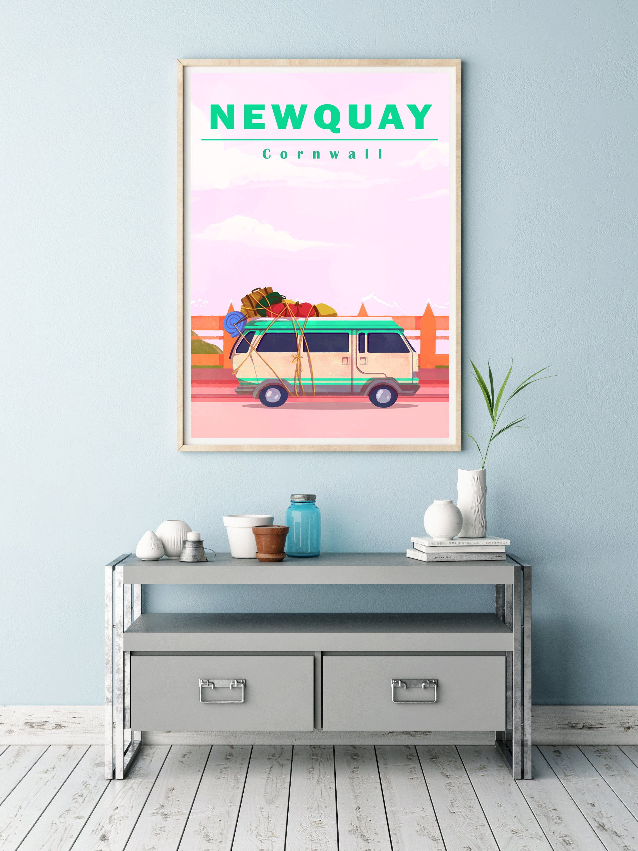 Newquay Art Print  Cornwall Travel Print  Surf Art  Volkswagen Camper  FREE UK Postage