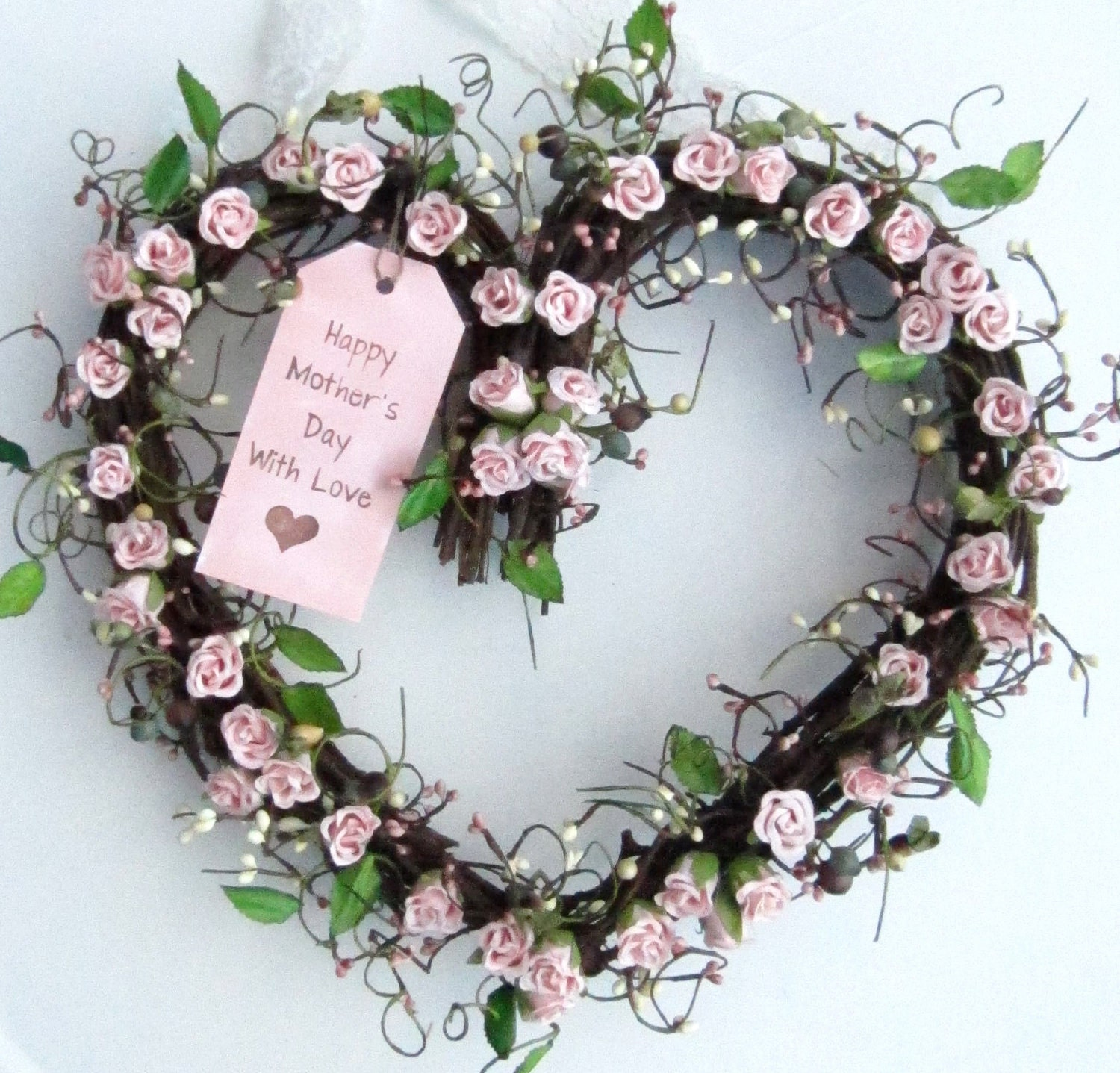 Shaped wreath pink roses spring wreath mothers day door wreath