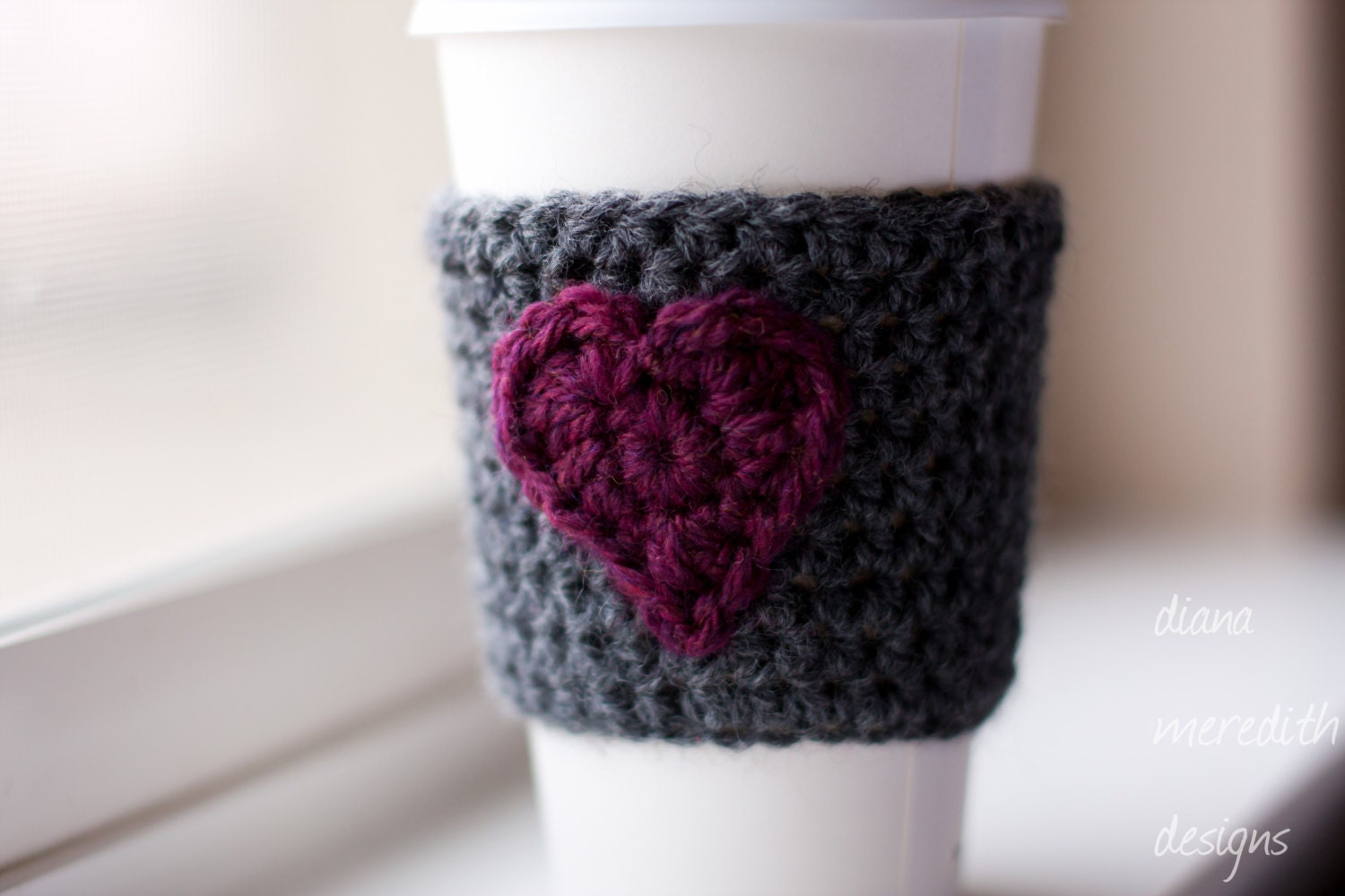 Crochet Coffee Cozy - Slate Gray with Ruby Heart