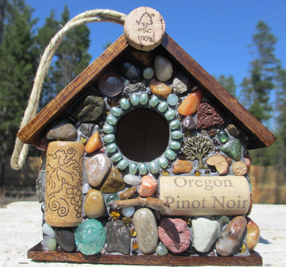 Wren Mosaic Birdhouse with Wine Corks