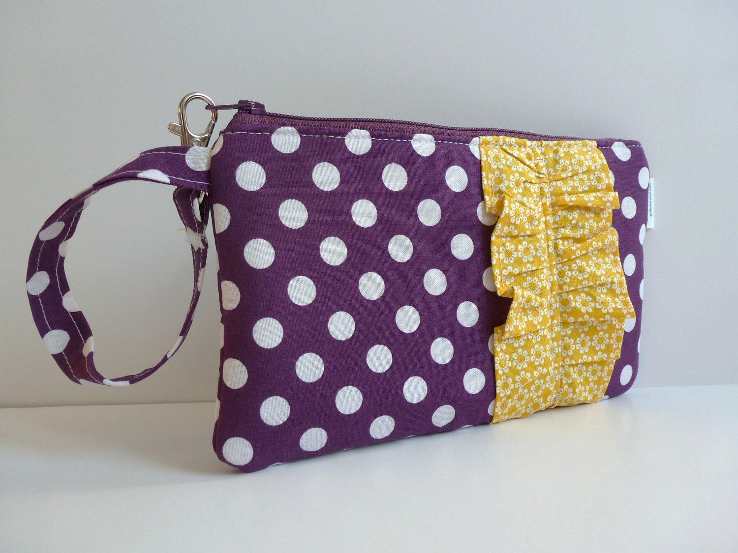 Plum Purple/White Polka Dot Wristlet with Yellow/White Floral Ruffle
