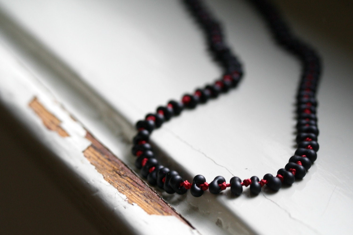 Mourning Beads Necklace / Jet Black Glass and Deep Red Silk - Augenblickphoto