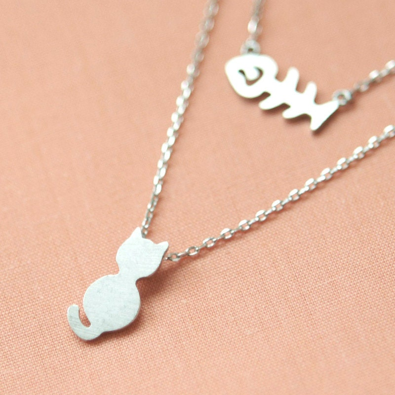 Cute cat and fish bone layers necklace by laonato on etsy for Fish skeleton necklace