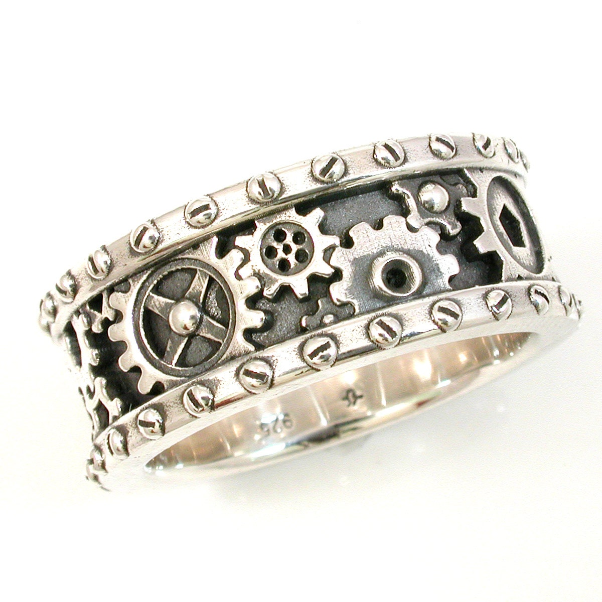 SteamPunk Mens Silver Ring - Gears and Rivets - Industrial Steam Punk - Handmade - SwankMetalsmithing