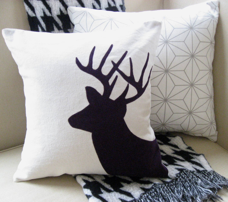 Deer Decorative Pillow Cover Modern Appliqued Buck by VixenGoods