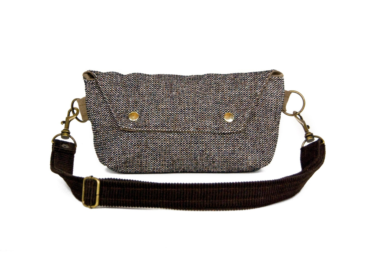 Hip Bag - Fanny Pack - Traveler Bag in Brown Beige Black Tweed and Corduroy - Made to Order