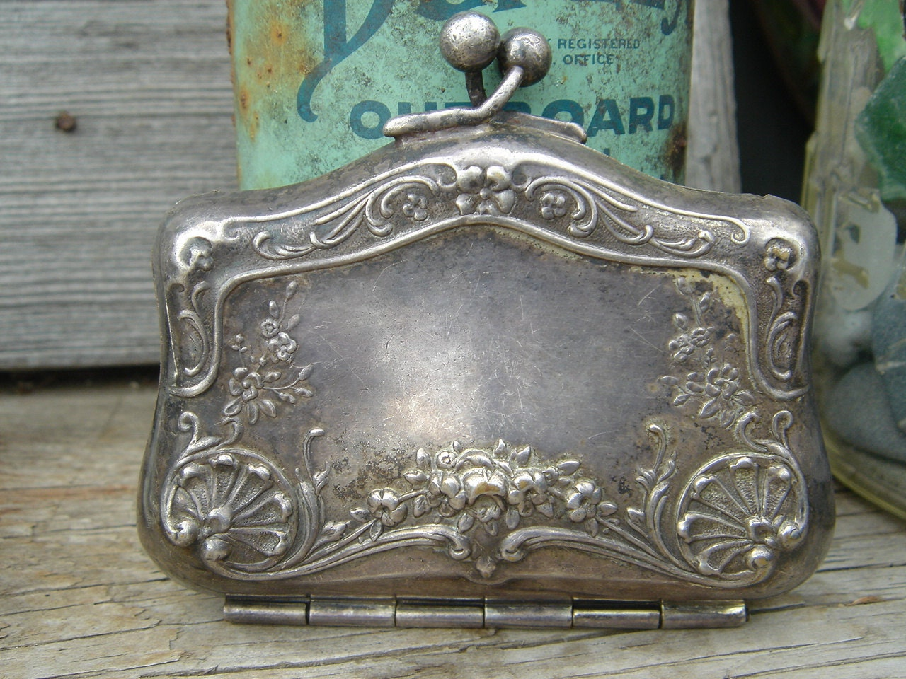 Antique Nickel Silver Repousse Coin Purse By Happymoondesigns