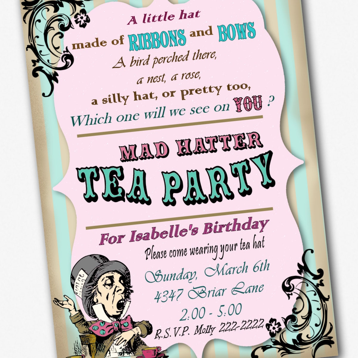 mad hatter invitation birthday tea party custom by