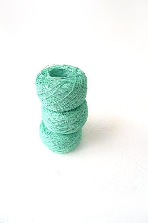 3 balls of Linen Yarn, linen thread, Mint linen, mint thread, mint - SuppliesForHandmade