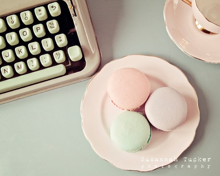 The Pastels - 8x10 pastel macaron photo, pink, mint, purple, vintage tea cup, typewriter, kitchen decor, food photo, shabby chic, still life - SusannahTucker