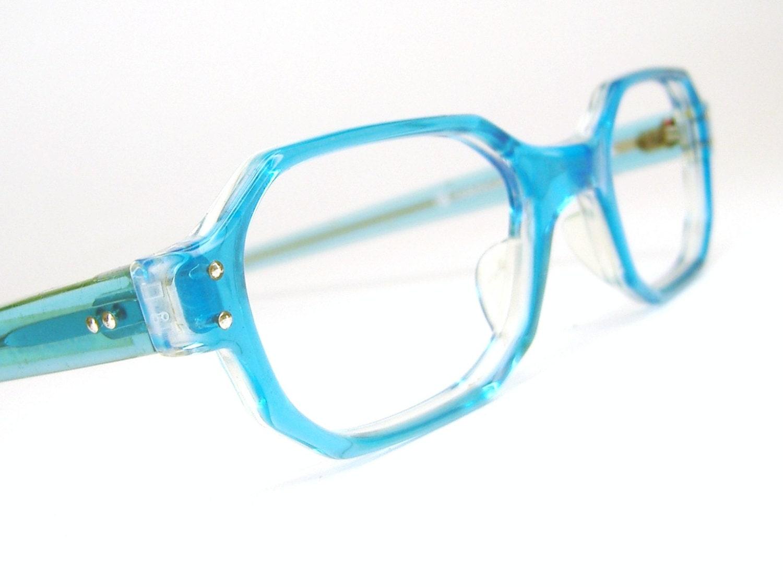 Aqua Blue Glasses Frames : Vintage Turquoise Blue Eyeglasses Frame Never by ...