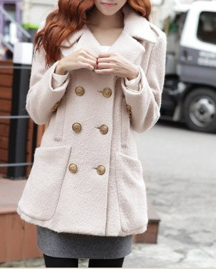 Ivory  women coat with button wool women coat Spring Autumn Winter --CO045
