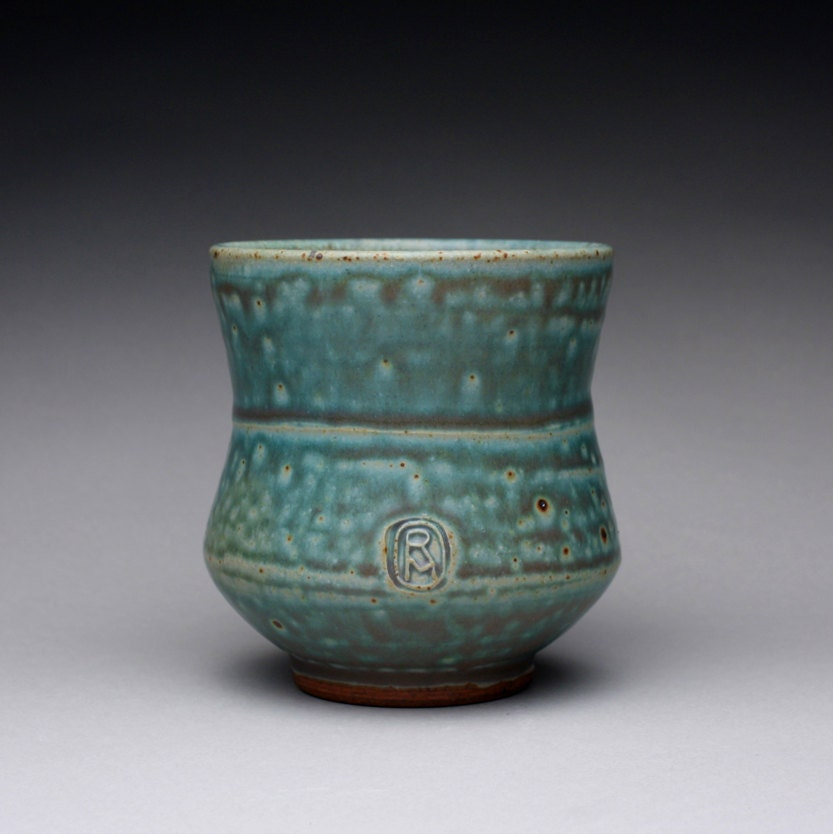 handmade pottery cup, tumbler, teacup with satin green and white glazes