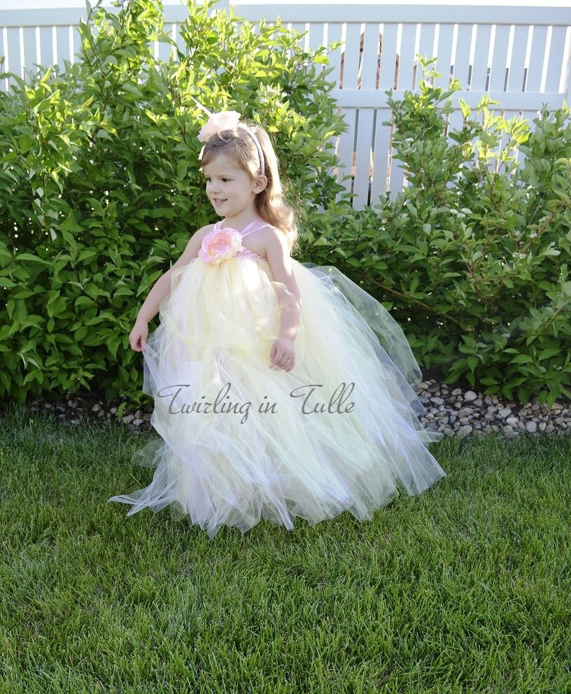 Pink And Pale Yellow Tulle Flower Girl Dress By