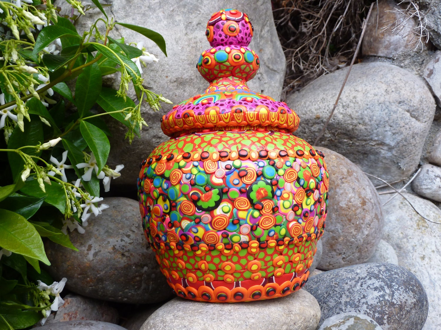 "Ceramic Cookie Jar Treat Jar Stash Jar with Clay Mosaic, ""Eye Candy"" - CrazieHappy"