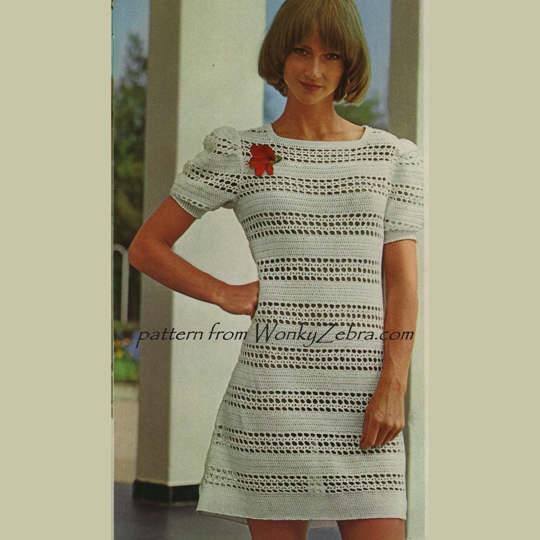 Vintage Crochet Dress Pattern 229 PDF Puff Sleeved Filet from WonkyZebra
