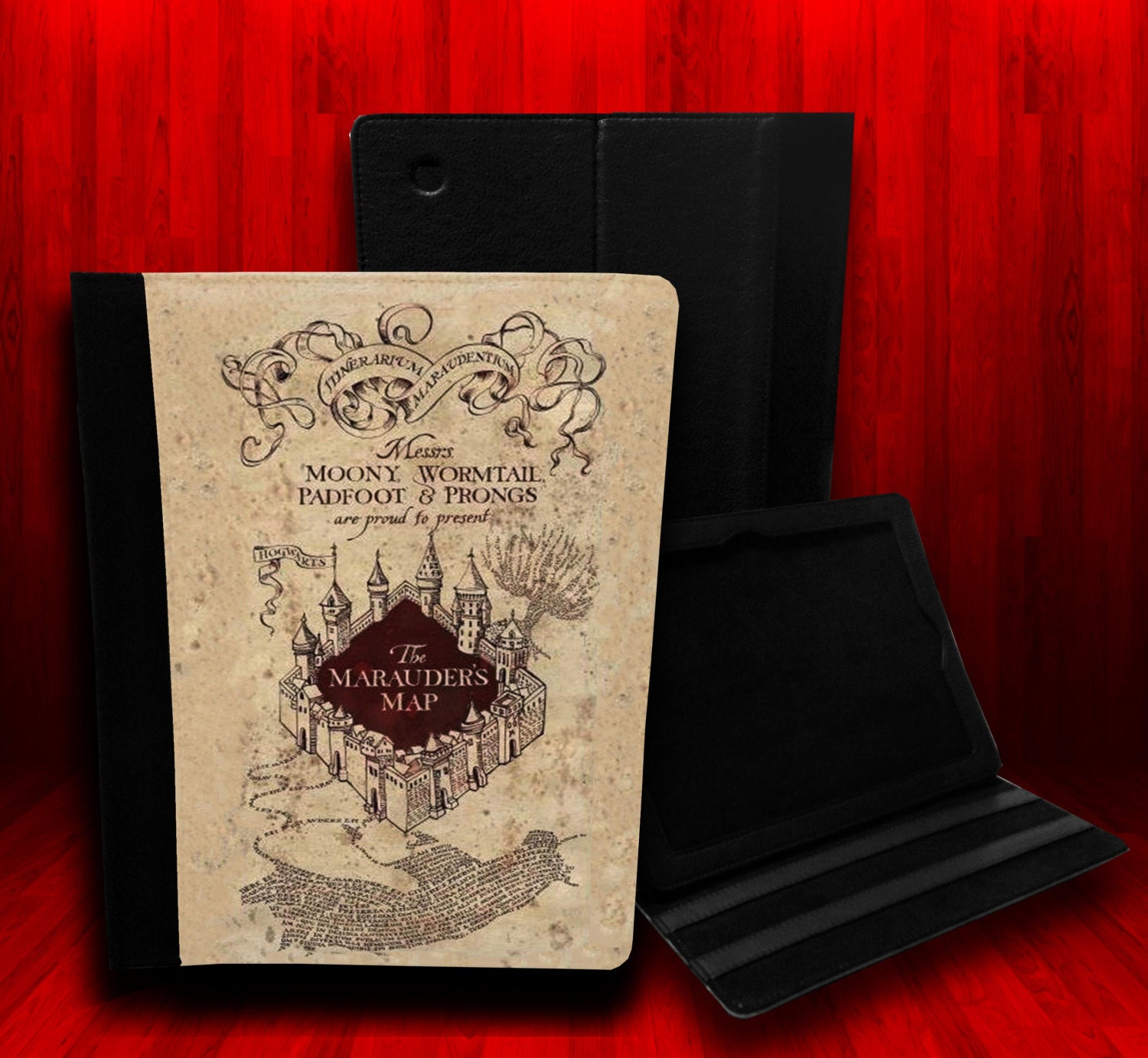 Harry Potter Inspired The Marauders Map Leather Case For iPad 2, iPad 3 and iPad 4