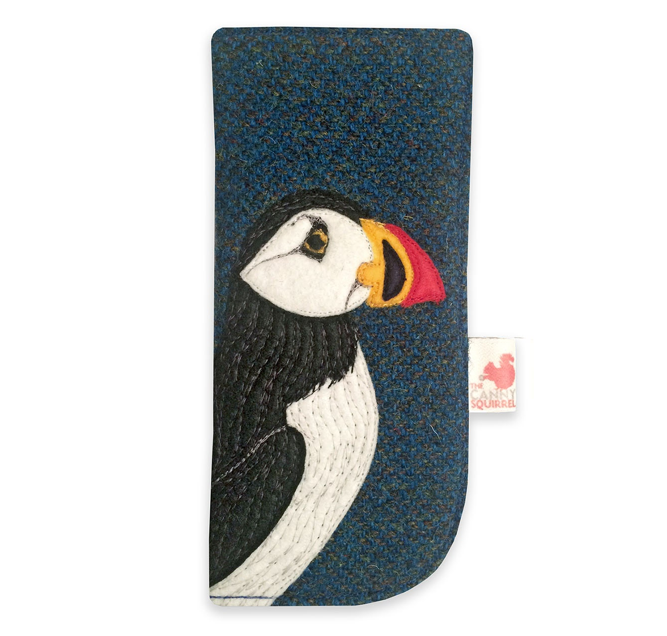Puffin glasses case blue Harris Tweed spectacles case tweed case puffin