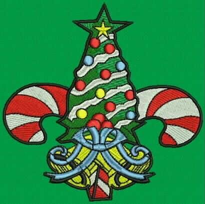 Christmas tree fleur de lis embroidery by theuniqueboutique