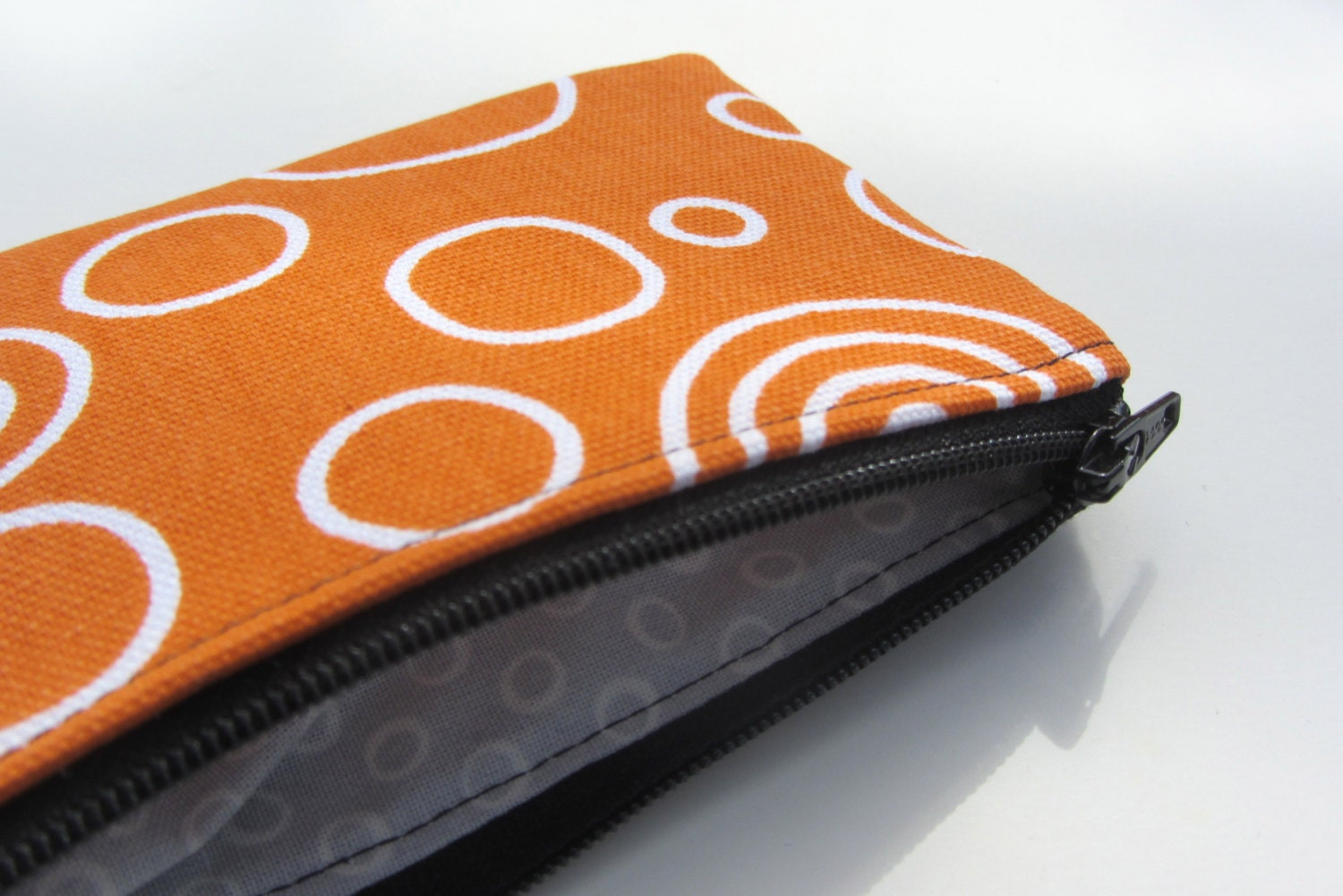 Fall Organic Canvas Backed Mini Pouch in Black Canvas & Orange Print - STRUCTUREbags