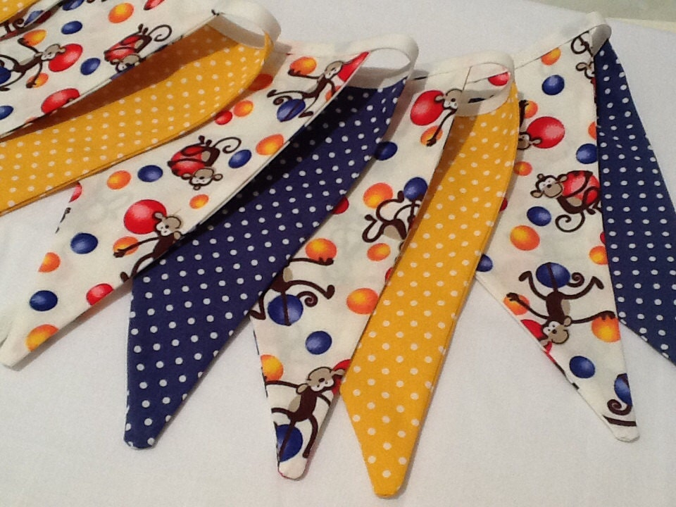 Circus Bunting banner 11 flags yellows and blues monkey fabric circus or jungle theme bedroom