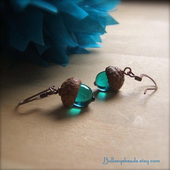 Glass Acorn Earrings inTransparent Teal by bullseyebeads - bullseyebeads