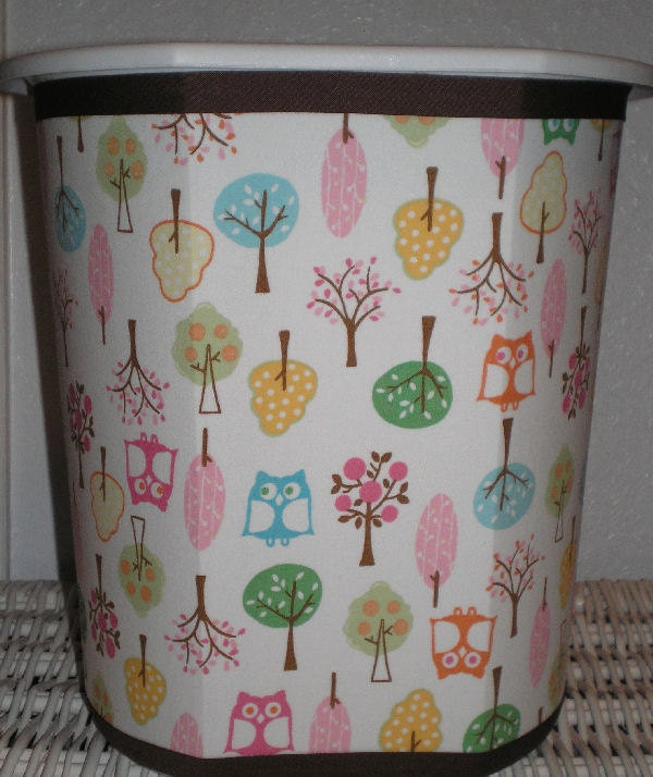 On sale brooke owl tree decorative wastebasket by 3buttonsn2bows - Covered wastebasket ...