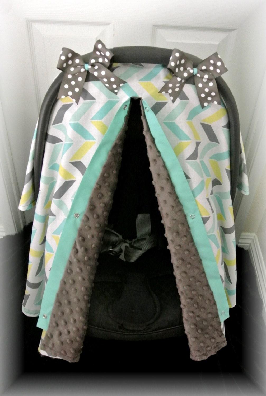 Car seat cover car seat canopy minky chevron teal gray polka dot