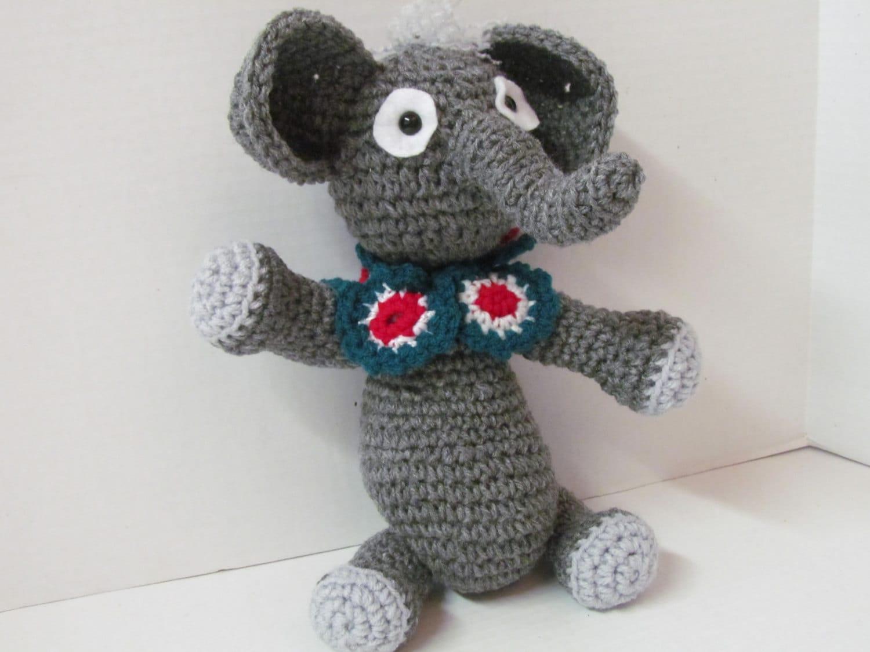 Amigurumi Crochet Gray Elephant Plush Toy by GrampasWorkshop